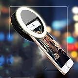 Prochive Selfie Camera LED Light Flashlight Lamp Ring Light Supplementary Lighting Night Selfie Enhancing for Smartphones, Rechargeable 3-Level Brightness, Round Shape, White