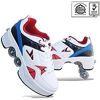 ZSPSHOP Patín En Línea Zapatos Multiusos 2 En 1 Botas Ajustables para Patines De Cuatro Ruedas Blanco,41