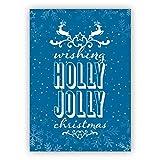 1 Weihnachtsgruß: Schöne blaue Retro Weihnachtskarte mit Spruch und Hirschen: wishing holly jolly christmas