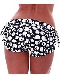 Hibote Mujeres Deporte de mujeres pantalones verano Shorts gimnasio entrenamiento pretina Yoga flaco pantalones cortos elásticos S-2XL