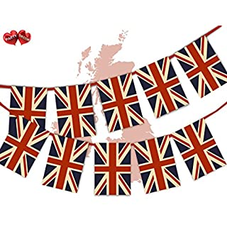 Party Decor British Vintage Full Flag Patriotic UK United Kingdom Union Jack Themed Bunting Banner 12 Rectangular flags for guaranteed simply stylish party National Royal decoration by