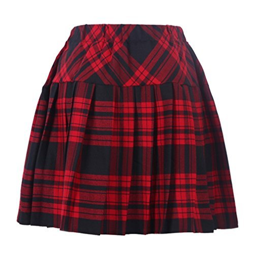 (Frauen Plaid Elasticated Short Plissee Schule Kostüme Rot Mixed Schwarz Medium)