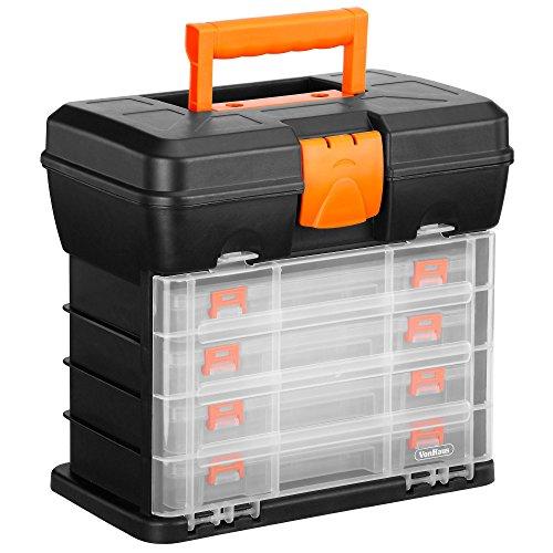 VonHaus Werkzeugbox mit 4 Schubladen und einstellbaren Trennwänden. (2 Schubladen Tool Box)