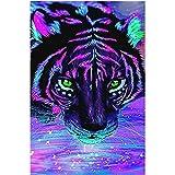 Felicove 5D Stickerei Gemälde, Strass klebte DIY Lila Tiger Diamant Malerei Kreuzstich