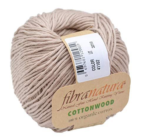 Gründl Fibranatura Cottonwood Fb. 41102 - beige, 100% Organic Cotton Baumwollgarn zum Häkeln und Stricken, Schulgarn Topflappengarn -