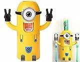Minion-Figur Zahnputz-Sets Zahnpasta Spender (Doppelte Augen) mit Becher und Halter Zahnbürstenhalter Zahncreme Squeezer