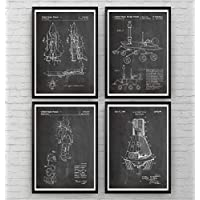 Space Patent Poster Affiche - Set Of 4 - Espace Nasa Science Print Gift Outer Astronaut Vintage Blueprint Retro Spaceship Aerospace Wall Art Bedroom Sci-Fi Fan Original Decor Merchandise Rocket Geek Nursery Classic Old Antique - Frame Not Included