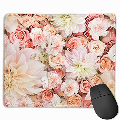 Petal Roses Blush Pink Personalized Design Mauspad Gaming Mauspad with Stitched Edges Mousepads, Non-Slip Rubber Base, 300 x 250 x 3 mm Thick - Best Gift Idea -
