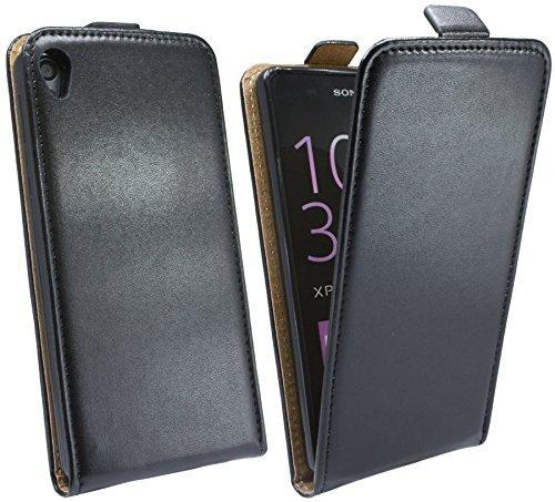 Handytasche Flip Style für SONY XPERIA E5 in Schwarz Klapptasche Hülle Case Etui Tasche Flip @ Energmix