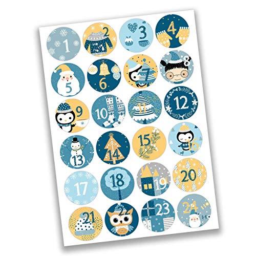 Papierdrachen 24 Adventskalender Aufkleber Zahlen - Weihnachtsmotive in blau-gelb Nr 31 - Sticker 4 cm - zum Basteln und Dekorieren -
