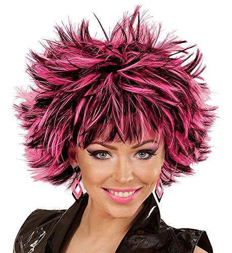Kostüm Rockstar 80er - shoperama Damen Stufen Kurzhaar-Perücke Steamy Schwarz mit farbigen Strähnen Punker Rockstar stufig Kunsthaar, Farbe:Schwarz-Pink