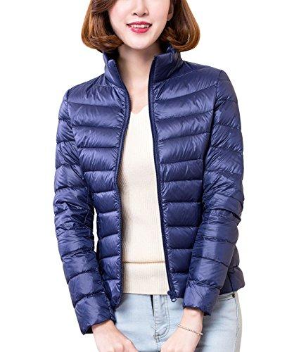 Panegy Damen Daunenjacke Jacke mit Stehkragen Winterjacke Steppjacke Navy