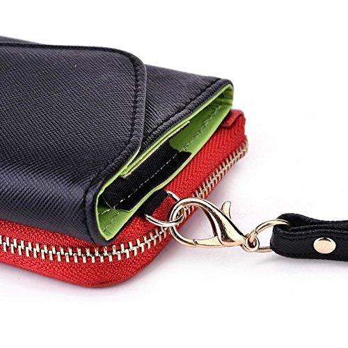 Kroo d'embrayage portefeuille avec dragonne et sangle bandoulière pour Yezz ANDY 3.5e2i Smartphone Multicolore - Black and Orange Multicolore - Noir/rouge