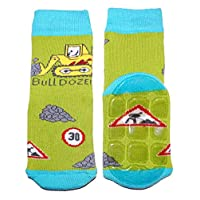 Weri Spezials Boys Terry ABS Bulldozer Slippers Anti Non Slip Socks 3-4 Years Green
