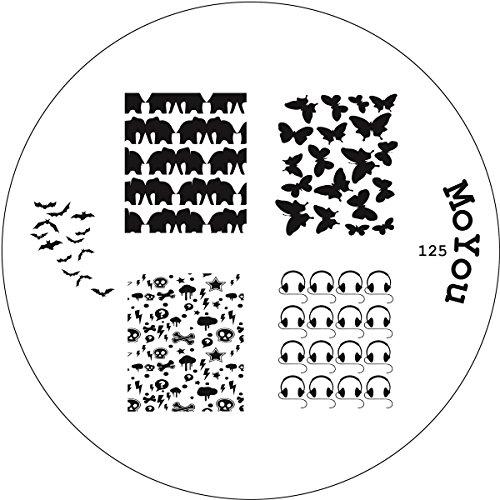 Original MoYou Nail Art stampigliatura stampo per Butterfly Nailart N, Skull 125 Bat pipistrello