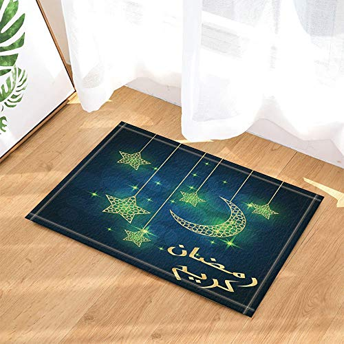 fdswdfg221 Islam Dekor Ramadan Kareem für Fasten Monat Bad Teppiche Rutschfeste Fußmatte Bodeneingänge Outdoor Indoor Haustür Matte Kinder Badematte 60X40 cm Bad Zubehör