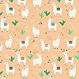 100% Baumwolle Baumwollstoff Kinder Kinderstoff Meterware Handwerken Nähen Stoff Tiermotiv 100x160cm 1 Meter (Lama Apricot)