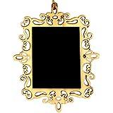 Itemer 10pcs Mini tableau noir en bois rectangle Doré creux Dentelle Tableau noir pour message Sign Tableau Décoration