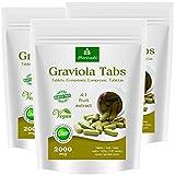 Graviola Presslinge 360 x 2000mg Fruchtpulver 4:1 Vegan, Qualitätsprodukt von MoriVeda – Sauersack (3x120 Tabs)