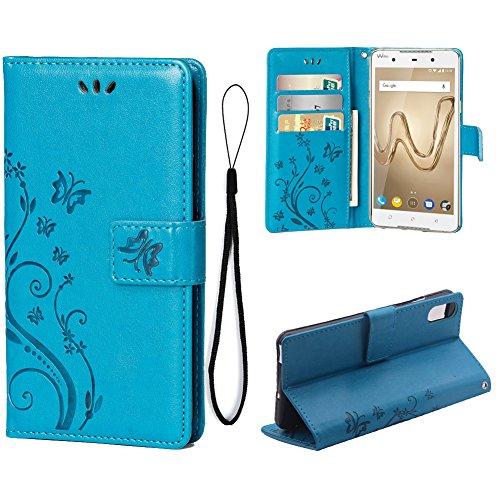 Teebo Hülle für WIKO Robby 2 Schutzhülle aus PU Leder Handyhülle mit geprägtem Schmetterling-Muster Kartenfach und Magnetverschluss grau