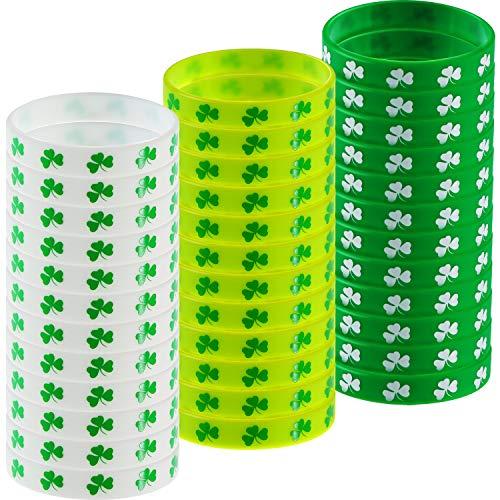 . Patrick's Day Armbänder Shamrock Gummiarmbänder Armbänder Irische Thematische Armbänder für St. Patrick's Party Supplies, 3 Farben ()