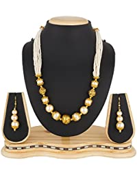 The Luxor Wedding Bridal Jewellery Gold Plated Haram Mala Pearl Necklace Set For Women And Girls