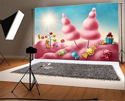 YongFoto 1,5x1m Vinyl Foto Hintergrund Kuchen Smash Dreamy Candy Lollipops Cartoon Prinzessin Alles Gute Zum Geburtstag Fotografie Hintergrund für Fotoshooting Portraitfotos Party Kinder Requisiten