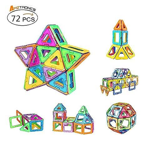Blocs de Construction Magnétiques, AMZtronics Mini Jeu (72 Pièces) Blocs Construction Magnétiques Cadeau Educatif et Créatif pour Les Enfants Permet à Votre Enfant D'apprendre Les Formes et Les Couleurs en