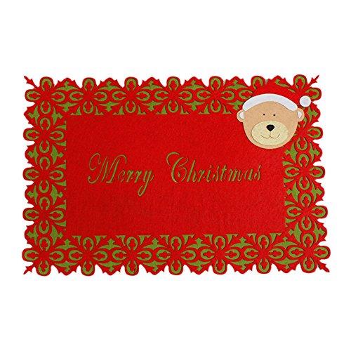 LoveLeiter Weihnachten Santa Tischset TischläUfer Mat Besteck Halter Dinner Party Decor Umweltfreundlich Abwaschbar Platzset Platzmatten FüR Dekoration Und KüChe Platzdeckchen (A)