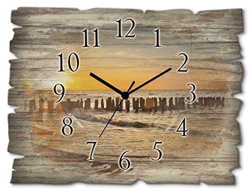 Artland Wanduhr ohne Tickgeräusche aus Holz Quarz Uhr lautlos rechteckig 40x30 cm Querformat Meer Sonne Strand Sonnenuntergang Himmel maritim T3ZU