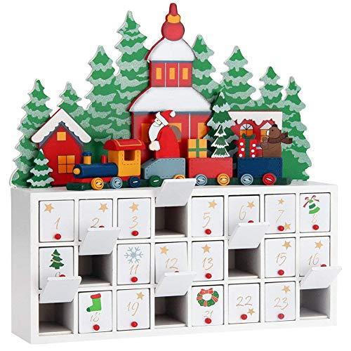 Bakaji calendario dell' avvento di natale in legno con 24 cassetti numerati per sorpresa decorazioni addobbi natalizi casa (trenino babbo natale)
