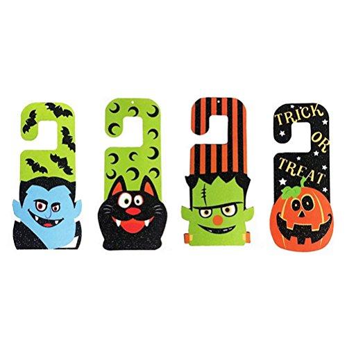 VORCOOL 4 stücke Dekorative Türbügel Haken Zeichen Design Cartoon Halloween Tür Hängende Ornamente Dekoration (Kürbis/Bat/Cat/Zombie)