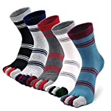 Zehensocken Herren Männer Baumwoll 5 Fünf Finger Sport laufende Sneaker Socken mit zehen, 3/4/5 Paare
