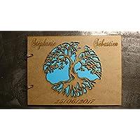 Livre d'or arbre de vie personnalisé mariage baptême communion scrapbooking album en bois