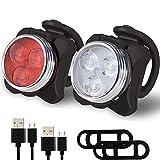 Yooger USB wiederaufladbare LED Fahrradbeleuchtung Set - super helle Scheinwerfer Rücklicht Kombinationen LED-Fahrrad-Licht-Set (650mAh Lithium-Batterie, 4 Licht-Modus-Optionen, 2 USB-Kabel)