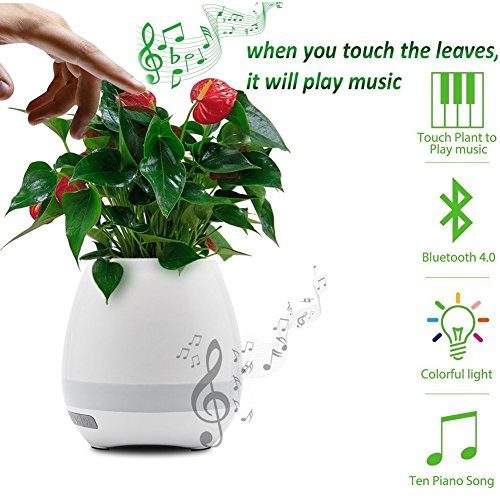 SYL Samsung Galaxy Y Pro Duos compatible Flower Pot Wireless Bluetooth Speaker Music Flowerpot with Night LED light , play music when you touch the leaves , Smart Musical Player , Smart Musical Pot Compatible with all Android Phones Samsung , VIVO , Redmi , Xiaomi , MOTO , NOKIA all other smart phones