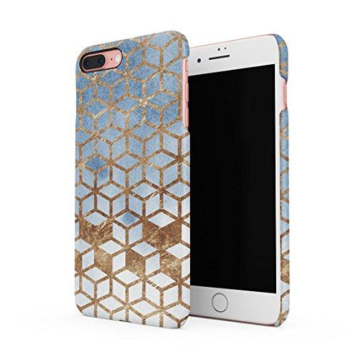 Grey & Amethyst Marble Stone Rectangle Shapes Pattern Dünne Rückschale aus Hartplastik für iPhone 7 Plus & iPhone 8 Plus Handy Hülle Schutzhülle Slim Fit Case cover Gold Cubes