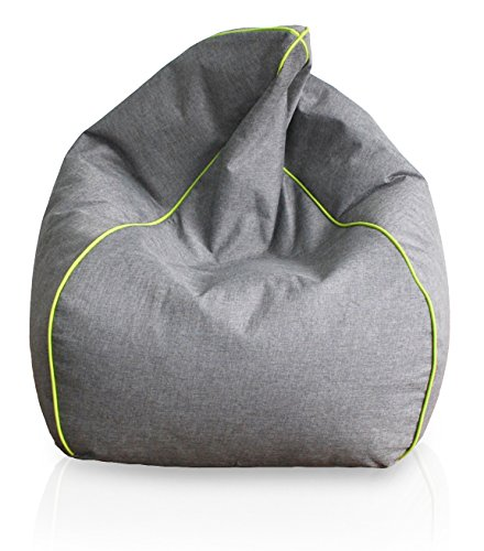 Stella Trading Kinzler S-10123 x 120 luxuriöser Sitzsack in Leinenoptik, ca. Ø60 x H100 cm, anthrazit mit Piping, apfelgrün bequemer und sehr hochwertiger Sitzsack in  Leinenoptik, apfelgrün, Sitzsack 60x100 cm