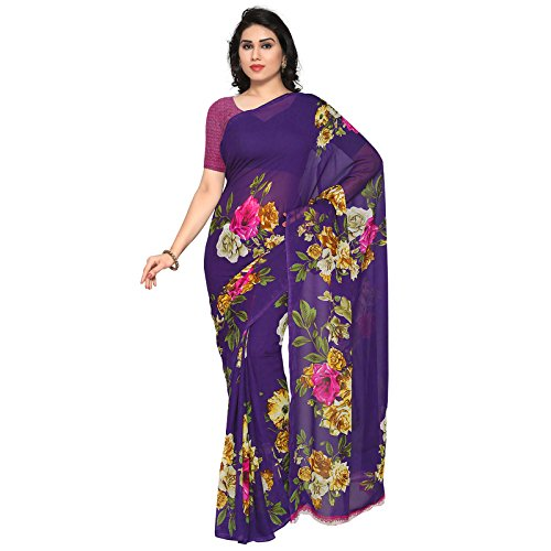 Kashvi Sarees Faux Georgette Purple & Multi Colored Printed Saree With Blouse Piece (1052_4)  available at amazon for Rs.249