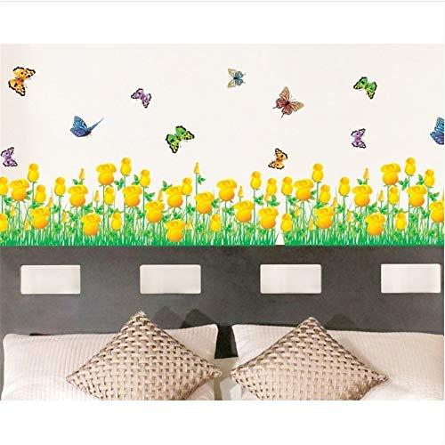 Zxfcccky Goldene Tulpe Blume Grenze Wandtattoo Aufkleber Klebstoff Frühling Garten Pflanzen Pvc Wallpaper Mädchen Kinder Hause Billig Zimmer Dekor (Wallpaper Grenzen Für Mädchen)