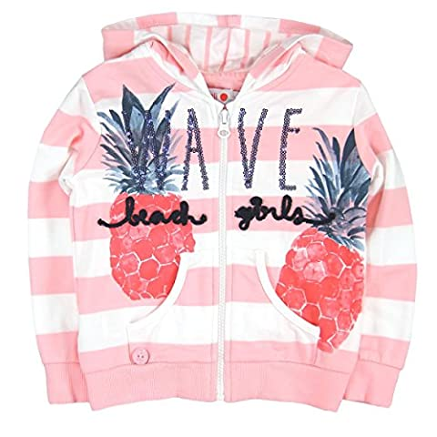 Bóboli Mädchen Kapuzenpullover Fleece Jacket Stretch For Girl, Rosa (Stripes 9439), 110 (Herstellergröße: