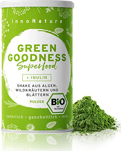 Bio 'Green Goodness' Superfood Shake mit 12 Superfoods (Weizengras + Gerstengras + Moringa +...