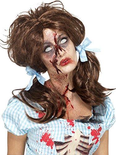 Smiffys, Damen Zombie Blutiges Landmädchen Perücke, One Size, Braun, (Perücken Zombie)
