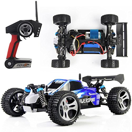 Preisvergleich Produktbild Fulltime® JJRC A959 1:18 Professionelle elektrische 45km/h Rennwagen 2.4 GHz Vier-Rad-Antrieb-Modell RC-Fernbedienung Stunt Low-Fahrgeschäft, Li-Ion Akku, 4WD Mad Haste Einzelradaufhängung DIY Roadster (Blau)