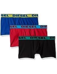 Diesel 3-Pack Contrast Waistband Men's Boxer Trunks, Black/Red/Blue