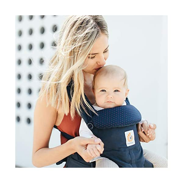"""ERGObaby Baby Carrier for Newborn to Toddler, 4-Position Omni 360 Navy Mini Dots, Ergonomic Child Carrier Backpack Ergobaby Baby carrier with 4 ergonomic wearing positions: parent facing, on the back, on the hip and on the front facing outwards. Supports hip-healthy """"m"""" shape position for baby's comfort and ergonomics. Adapts to baby's growth: Infant baby carrier newborn to toddler (7-33 lbs./ 3.2 to 20 kg), no infant insert needed. Tuck-away baby hood for sun protection (UPF 50+) and privacy. NEW - Maximum comfort for parent: Longwear comfort with lumbar support waistbelt and extra cushioned shoulder straps. 4"""