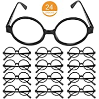 Tbestmax 24 Pairs Black Wizard Glasses Round EyeGlasses Frame Kids No Lenses for Boy Girls Halloween Costume Party Supplies Plastic