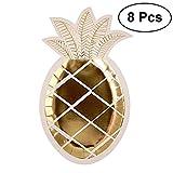 Tinksky 8unids USA e getta piatti di carta di ananas a forma di Fiesta suministros Estampado De Oro Piastra di alimenti-Wedding Luau Hawaii Party Supplies