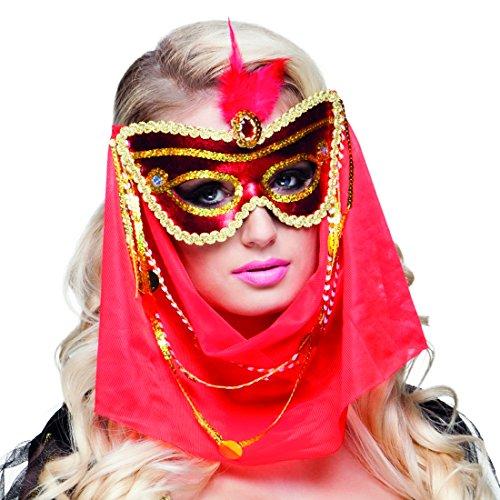 NET TOYS Orientalische Maske mit Schleier 1001 Nacht Augenmaske Damenmaske Bollywood Halbmaske Bauchtänzerin (Bollywood Nacht Kostüm)
