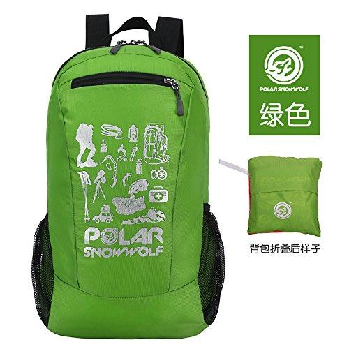 LWJgsa Outdoor - Wander - Tasche Leichte Falten Wasserdicht Haut Tasche Männer Und Frauen Freizeit - Sport - Rucksack grüne